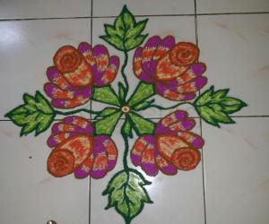 dotted floral kolam