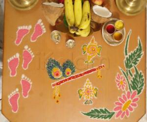 ShriKrishna Janmashtami Rangoli - Simple Freehand
