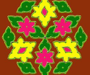 Rangoli: Simple Star flowers