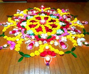Free hand Diwali Dias Rangoli