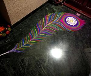 2018- Diwali- Threshold- peacock feather..