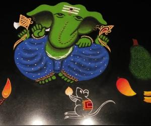 2021-New Year- Ganesha with Mooshak and Muppazham- (the three fruits)  Jack fruit, Banana and Mango which are considered auspicious for Ganesha