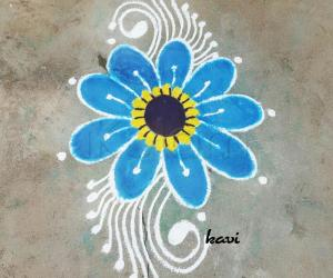 Rangoli: Single blue flower
