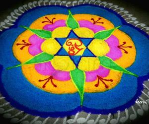Colorful sashti rangoli