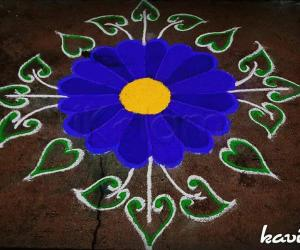 Rangoli: Navarathri Day 7: color code: Royal blue