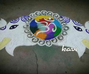 Rangoli: Navrathri 5th day : color code: white iravaatham.