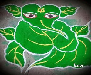 Rangoli: Leafy Ganesh