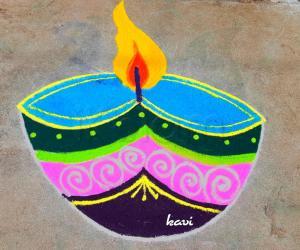 Rangoli: Single colorful Diya