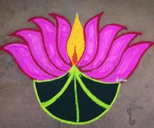 Rangoli: Lotus Diya
