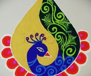 Rangoli: Vasantha Panchami peacock rangoli