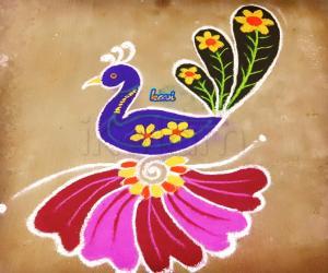 Rangoli: Holi peacock