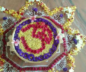 Rangoli: Urli flower decoration