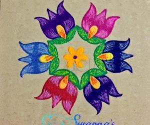 Colourful flower rangoli