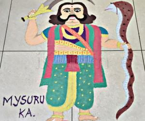Mahisasura statue rangoli
