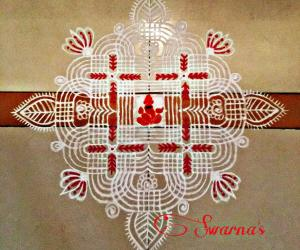 Traditional kolam for Ganesha Chaturthi