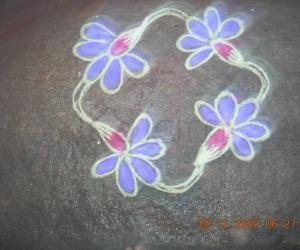 Rangoli: four flower