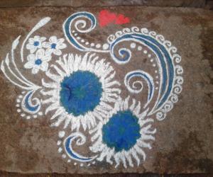 white n blue rangoli