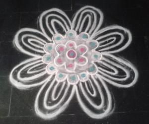 Rangoli: White flower
