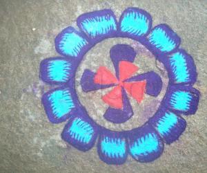 Rangoli: single flower rangoli