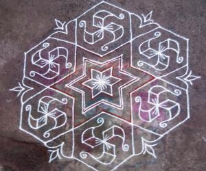 Rangoli: Hexagon kolam
