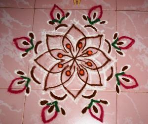 Freehand flower Rangoli