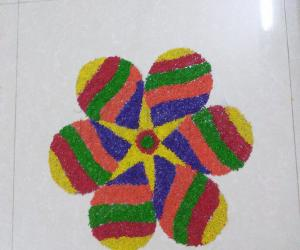Rangoli using colored rice