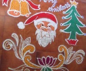 Rangoli: christmas kolam freehand design