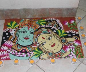 Diwali 2015 rangoli - mural style