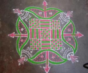 Rangoli: Fusion kanyakolam-Sri Ramanavami Special- will-Ambu-sword-arrow rangoli