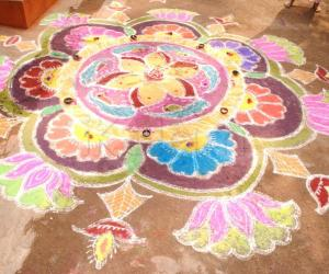 Pongal and Flower Rangoli