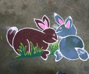 Rangoli: Rabbit kolam