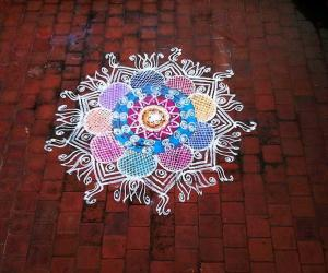 Rangoli on terrace