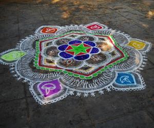 Rangoli: karthigai kolam in daylight
