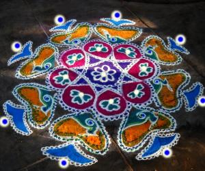 Rangoli: peacock hide