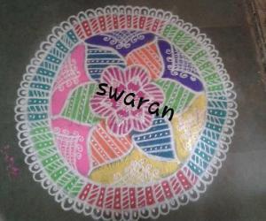 Diwali Kolam :: Free Hand Rangoli :: My first attempt on North Indian Style