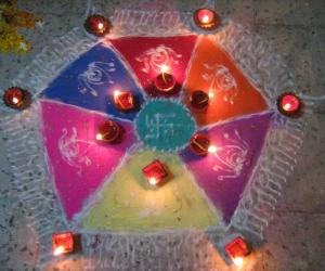 Diwali rangoli at night