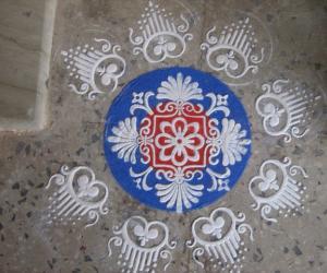 Rangoli for Saraswati Pooja (Navratri)