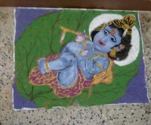 Rangoli: bala krishna after he received mukkan from me