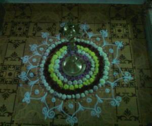 Rangoli: karthigai deepam lamp