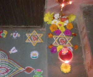 Rangoli: vilakku decoration in margazhi