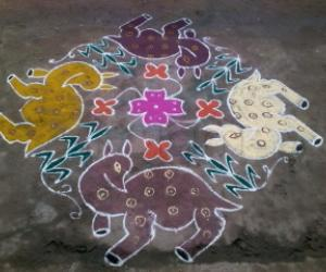 Rangoli: beautiful deer kolam