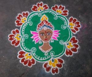 Free hand Devi Durga Rangoli