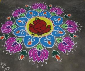 Rangoli: My Vinayaka Chavithi Rangoli for competition at our apartments