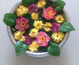 Floating flower rangoli