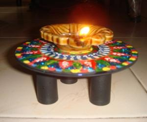 Rangoli: lamp stand--craft work