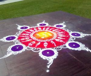 Rangoli at Diwali fair Sydney