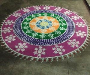 New year sanskar bharathi debut rangoli
