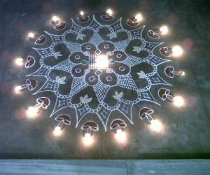 Rangoli: karthigai deepam with diya