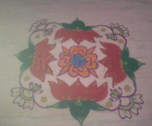 Rangoli: Coloured Lotus