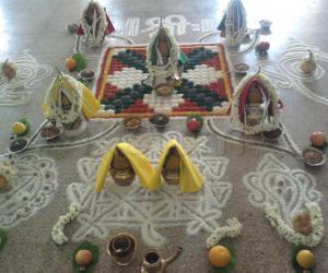 Rangoli: Rice rangoli